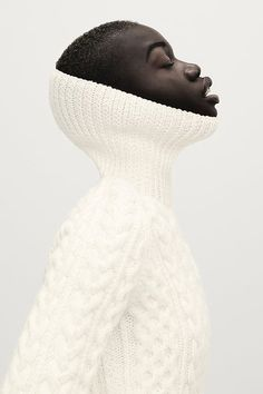 Beautiful image of turtleneck fisherman sweater // Photograph by Matt Barnes via Dark Beauty Magazine