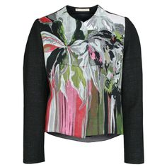 BALENCIAGA PARIS cropped PF10 floral print bubble egg back jacket 40-FR/8-US #Balenciaga #structured #ghesquiere #abstractprint #floralprint #designerjacket