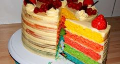Vanilla Cake, Rainbow, Recipes, Food, Household, Pies, Rain Bow, Rainbows, Essen
