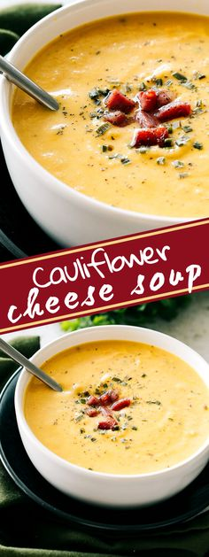 EASY & CREAMY CAULIFLOWER CHEESE SOUP! Our Cauliflower Cheese Soup combines bacon, sautéed onions with carrots, simmered with cauliflower and seasonings, then puréed and mixed with cheddar cheese and cream. Its rich and creamy texture is sure to satisfy every soup fan. Slow Cooker Cauliflower Soup, Cauliflower Cheddar Soup, Easy Cauliflower Recipes, Cauliflower Mashed Potatoes, Baked Cauliflower, Easy Soup Recipes, Entree Recipes, Keto Recipes, Healthy Recipes