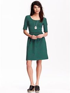 Pretty fit and flare dress.  Love the office-approved length and the fact that it has sleeves.  The green with stripes is my favorite, but there's a lot of other great options too.