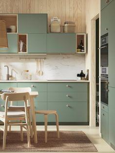 Kitchen Room Design, Modern Kitchen Design, Home Decor Kitchen, Kitchen Interior, Green Kitchen, New Kitchen, Sweet Home, Japanese Home Decor, Kitchen Colour Schemes