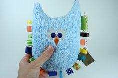 Boy Nursery Pillow Owl Decorative Pillow Teether Plush by JuteBaby