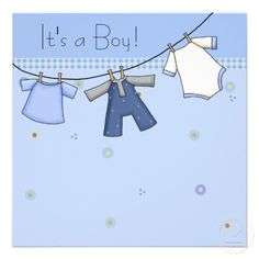 baby shower invitations for boys | Baby Clothesline Baby Boy Clothes Baby Shower Personalized Invitations ...