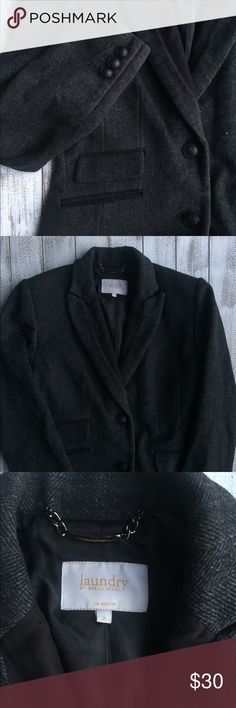 LAUNDRY BY SHELLI SEGAL LONG WOOL COAT. Long wool coat charcoal gray color with buttons. 48% Wool 41% polyester. Dry cream only. Laundry by shelli segal los angeles brand. Size 2. Length 33 inches. Very good condition. Laundry By Shelli Segal Jackets & Coats