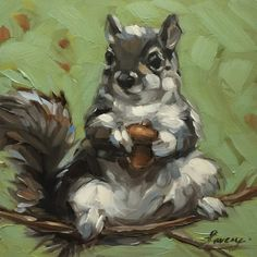 "Squirrel painting, 5x5"" impressionistic original oil painting, Squirrel with and acorn on a branch. Squirrel art"