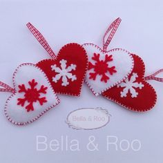 Four Christmas Heart Hanging Decorations in Felt ~7.5x6.5 cm
