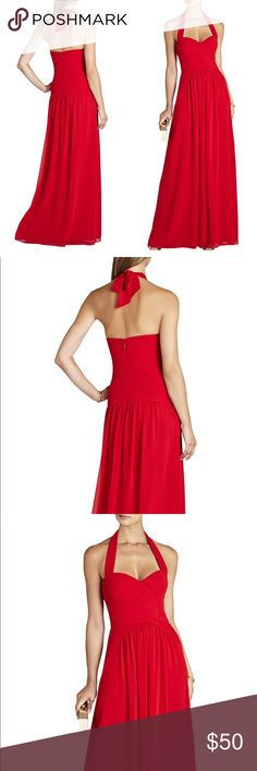 "BCBG Maxazria Rouge Red Selene Halter Gown 10P Red floor length gown, ""Rouge Red"", Halter, built-in bra support very flattering top, Bodice details, Chiffon and flowy! New with tags some minor snags. Great condition. BCBGMaxAzria Dresses Maxi"