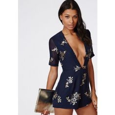 Plunge Sequin Detail Playsuit Navy - Playsuits - Missguided