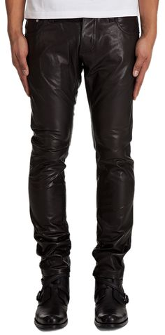 5a7a0edbd0fbb New Men Slim Fit Soft Lambskin Leather Black Pant Size 28 30 32 34 36 38
