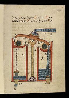 """Design for the Automata of a Perpetual Flute,"" from the Kitab fi ma'rifat al-hiyal al-handasiyya (Book of the Knowledge of Ingenious Mechanical Devices) by Badi' al-Zaman b. al Razzaz al-Jazari | The Met"