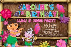 Dora the Explorer Luau Pool or Swim Party Picnic by ajinvites, $10.99
