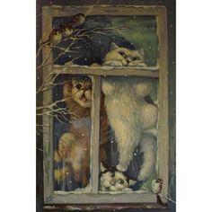 #kirapanina#art#artist#pictures#cats#homefriends#window#birds#sparrows#winter#snow#catts#кирапанина#художник#живопись#картины#окно#кот#кошка#котята#коты#снег#зима#птицы#воробьи#домашниепитомцы#