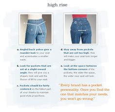"""pocket placement for jeans"" - One thing here, the pockets should be as straight as possible - both those pictures are wrong - having pockets like that make your butt wide BUT FLAT. Sewing Jeans, Sewing Clothes, Diy Clothes, Sewing Hacks, Sewing Tutorials, Sewing Tips, Techniques Couture, Sewing Techniques, Pants Pattern"
