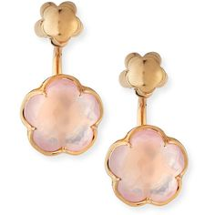 Pasquale Bruni Bon Ton Pink Quartz Flower Jacket Earrings in 18K Rose... found on Polyvore featuring jewelry, earrings, pink quartz jewelry, rose gold post earrings, post back earrings, pink gold jewelry and rose gold earrings
