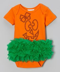 Take a look at this Orange & Green Rhinestone Pumpkin Ruffle Bodysuit - Infant by Moxie Couture on #zulily today!