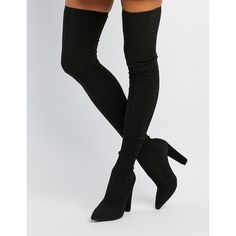 Bamboo Glitter Over-The-Knee Boots ($31) ❤ liked on Polyvore featuring shoes, boots, black, pointed toe thigh high boots, black slip on boots, over-the-knee boots, block heel thigh high boots and black thigh-high boots
