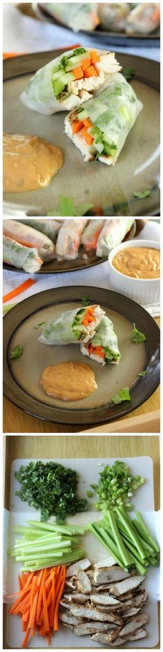 Chicken Spring Rolls with Rice Paper