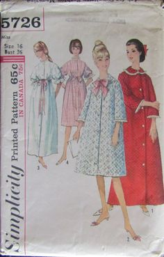 Vintage 1960s Simplicity 5726 Misses Robe Sewing Pattern Size 16 Nightgown  Pattern 02788ec61