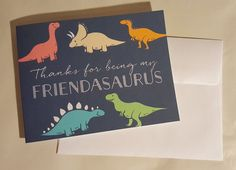 Items similar to Dinosaur Valentine's Day Card - Thanks for being my Friendasaurus on Etsy Dinosaur Valentines, Valentines Day, Printing Companies, Your Message, Craft Supplies, Daisy, Stationery, Thankful, Messages