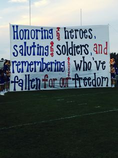 Support the troops game run through sign!!!