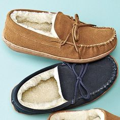 Foamtreads™ Men's 'Benny' Leather Moccasin Slippers Canada Shopping, Leather Moccasins, Sperrys, Boat Shoes, Wonderland, Wedding Planning, Slippers, Board, Fashion