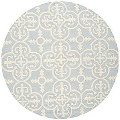 Safavieh Cambridge Collection CAM133A Handmade Light Blue and Ivory Wool Round Area Rug, 8 feet in Diameter (8′ Diameter)
