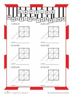 Worksheets: Lattice Multiplication Practice