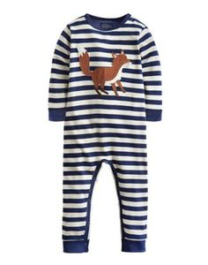 Joules Applique Babygrow, Navy Stripe.                     Adorned with a smattering of super stripes and a fantastic fox applique, this babygrow is a must for all little crawlers and explorers. Crafted from soft-against-the-skin cotton for ultimate comfort and with poppers for easy-on and easy-off.