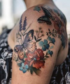Fairytale-Inspired Tattoo Art That Looks Like Water Paintings, Art FairytaleInspired insp. - inspirational tattoos - Fairytale-Inspired Tattoo Art That Looks Like Water Paintings, Fairytale-Inspired Tattoo Art That Looks Like Water Paintings, Pretty Tattoos, Unique Tattoos, Beautiful Tattoos, Mini Tattoos, Flower Tattoos, Body Art Tattoos, Tatoos, Papillon Violet, Borboleta Tattoo