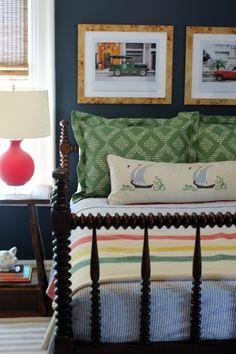 Little boys room featuring bamboo shades, Dash & Albert indoor/outdoor rug…
