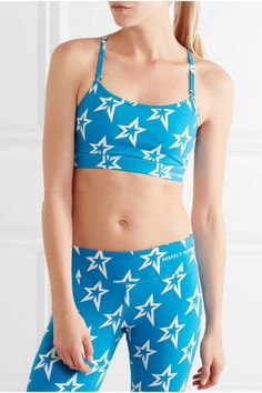 Perfect Moment - Printed Stretch Sports Bra - Blue -