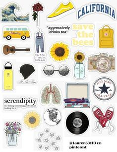Hipster sticker pack hipster stickers roses oceans trendy save the bees yellow photography shoes converse records vans van ukelele overalls stars flowers save the world. Tumblr Stickers, Phone Stickers, Journal Stickers, Diy Stickers, Free Printable Stickers, Sticker Ideas, Laptop With Stickers, Planner Stickers, Vintage Sticker