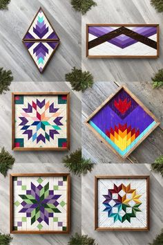 Discover handcrafted wood wall art and rustic wooden barn quilts featuring geometric patterns in vibrant and bold colors. If purple is your color, then you will love the lavender, lilac, and deep purple barn quilt wall hangings. Each one is handmade with premium cedar and hand painted with acrylic paints. They are finished with cedar framing and a coat of urethane for protection. These are perfect for adding color, texture, and design to any wall space in your home and make wonderful gifts. Geometric Wall, Geometric Patterns, Color Patterns, Barn Quilt Designs, Quilting Designs, Mosaic Wall Art, Wood Wall Art, Lilac, Lavender