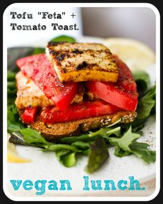"Tomato Tofu ""Feta"" Open-Face Sandwich #vegan #lunch"