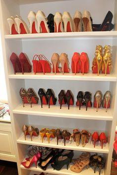 bookshelf for shoes- brilliant!
