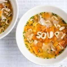 Chicken soup with pasta shapes