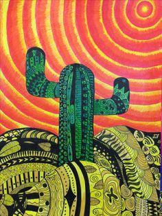 Zen desert Fall Art Projects, Year 7, Crayon Art, Sketchbook Ideas, Autumn Art, Zentangle, Marker, Pencil, Teacher