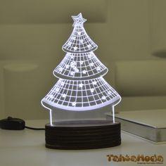Tahtamoda 3D 3 Boyutlu Dekoratif Led Lamba Noel Ağacı - tht3d9