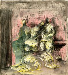 Shelter drawing, 1940-41  by Henry Moore (English 1898-1986)