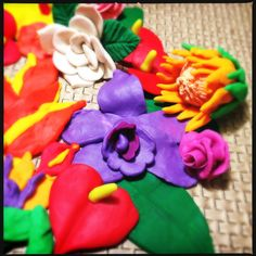 Tropical Flowers made with Play-Doh