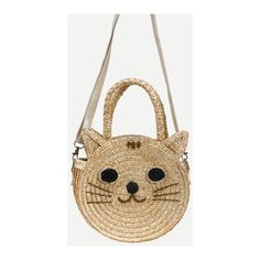 SheIn(sheinside) Beige Cat Shaped Straw Bag ($17) ❤ liked on Polyvore featuring bags, handbags, shoulder bags, beige, brown shoulder bag, straw shoulder bag, beige purse, beige handbags and straw purses