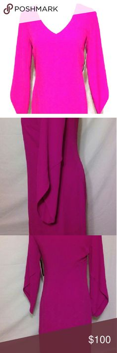 Nwt laundry by shelli segal dress size 4 Electric pink  Has zipper In back vneck  Retails for $195.00 Measurements Armpit to armpit 17in Length 35in Laundry by Shelli Segal Dresses Midi