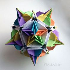 Origami Cube, Origami Lamp, Origami And Kirigami, Modular Origami, Paper Crafts Origami, Oragami, Geometric Shapes Art, Geometric Origami, Origami Diagrams