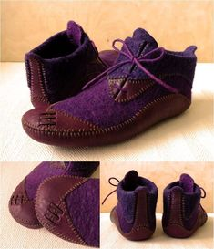 felted slippers with leather soles and toes. Very cute. - Boglarka Boczy