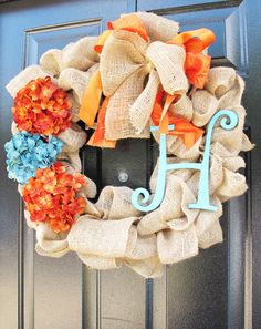 Monogram Wreath Fall Wreath For Door Monogram by WoodAndBurlap, $79.00