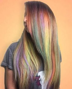 Watercolor blend of pastels and neon rainbow hair colors for long hair Neon Hair, Pastel Hair, Hair Dye Colors, Cool Hair Color, Blonde Ombre, Ombre Hair, Different Hairstyles, Cool Hairstyles, Unicorn Hair Color