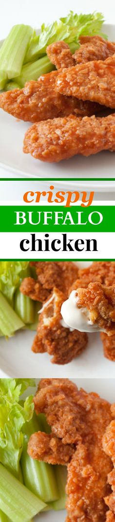 Crispy Buffalo Chicken Tenders Recipe! Everyone's favorite! Here's the secret to making super crispy buffalo chicken fingers that taste like your favorite restaurant - for half the calories! 288 calories per serving