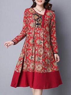Ethnic Floral Printing Patchwork Hem Long Sleeve Loose Dress at Banggood Pakistani Fashion Casual, Pakistani Dresses Casual, Pakistani Dress Design, Casual Dresses, Loose Dresses, Stylish Dresses For Girls, Cheap Summer Dresses, Spring Dresses, Vestidos Vintage