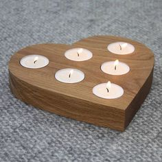 Centrepiece Heart Tea Light Holder by a+b furniture, the perfect gift for Explore more unique gifts in our curated marketplace. Support Bougie, Bougie Candle, Wooden Candle Holders, Small Wood Projects, Creation Deco, Wooden Crafts, Tea Light Holder, Wood Art, Woodworking Projects
